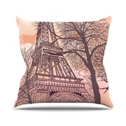 KESS InHouse Eiffel Tower Throw Pillow; 18'' H x 18'' W