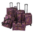 American Flyer Paisley 5 Piece Luggage Set; Purple