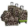 American Flyer Animal Print 5 Piece Spinner Luggage Set; Giraffe Green