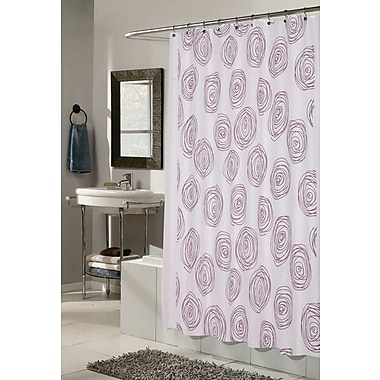 Carnation Home Fashions Lucerne Shower Curtain; White and Magenta