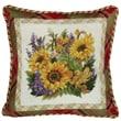 123 Creations Sunflower 100pct Wool Needlepoint Pillow with Fabric Trimmed