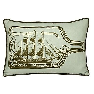 Kevin O'Brien Studio Nauticals Ship In A Bottle Lumbar Pillow; Seaglass
