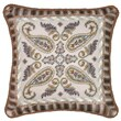 123 Creations Paisley 100pct Wool Needlepoint Pillow with Fabric Trimmed