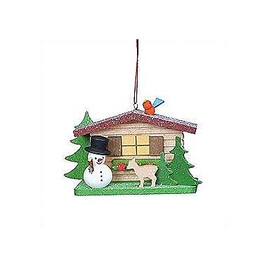 Christian Ulbricht Cottage w/ Snowman and Deer Ornament