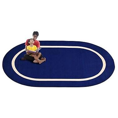 Kid Carpet Montessori Blue w/ Cream Line Classroom Kids Area Rug; Oval 6' x 8'6''