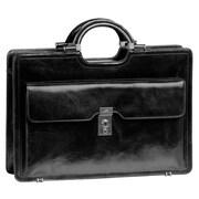 Mancini Signature Classic Leather Briefcase; Black