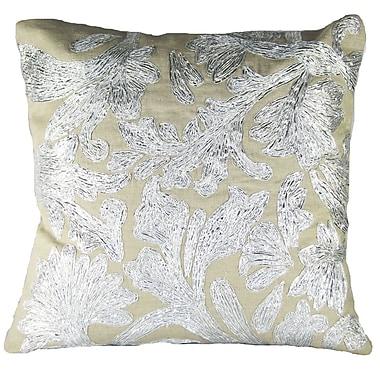 Design Accents Lurex Floral Linen Throw Pillow; Silver