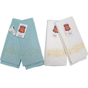 Textiles Plus Inc. Embroidery Fingertip Towel (Set of 4); Sage / Natural