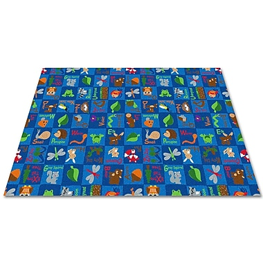 Kid Carpet Animals In The Forest Blue Area Rug; Square 12'
