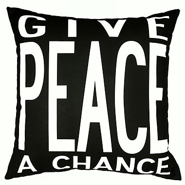 Uptown Artworks Peace Throw Pillow; Black
