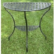 International Caravan Iron Patio Two Tier Half Moon Side Table