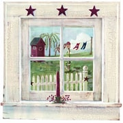 York Wallcoverings Mural Portfolio II Trompe L Oiel Washed Window Accent Wall Mural