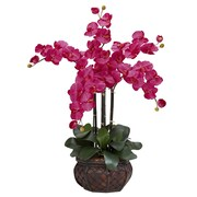 Nearly Natural Phalaenopsis with Decorative Vase Silk Flower Arrangement in Beauty