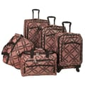 American Flyer Silver Clover 5 Piece Spinner Luggage Set; Pink