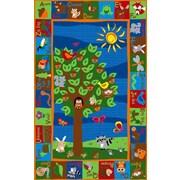 Kid Carpet Forest Animal Alphabet Multi Colored Area Rug; 4' x 6'