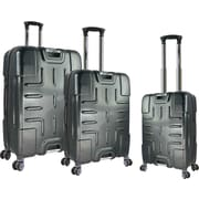 Travelers Polo & Racquet Club F150 Series 3 Piece Luggage Set; Silver and Black