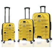 Travelers Polo & Racquet Club Super Durable 3 Piece Luggage Set; Yellow and Black