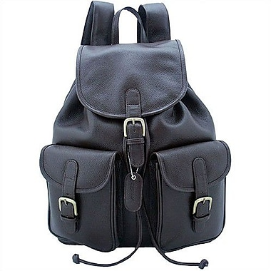Leatherbay Backpack with Pockets; Dark Brown