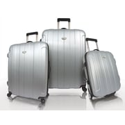 Traveler's Choice Rome 3 Piece Hard-Shell Spinner Luggage Set; Silver
