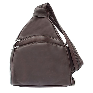 Piel Fashion Avenue Two Pocket Sling Backpack; Chocolate