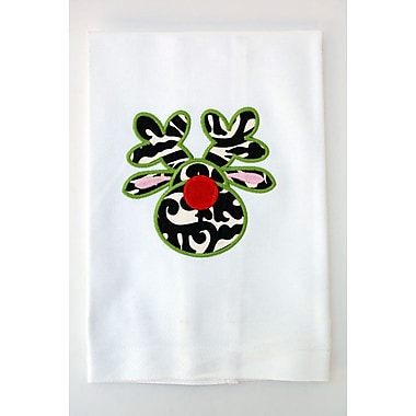 Samantha Grace Designs Egyptian Quality Cotton Huck Holiday Applique Reindeer Hand Towel