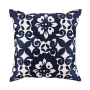 Sis Boom by Jennifer Paganelli Cassandra Embroidered Linen Throw Pillow; Blue