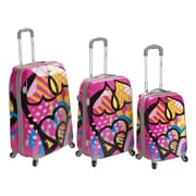 Rockland Vision 3 Piece Polycarbonate/ABS Spinner Luggage Set; Love