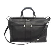 Piel Traveler 19'' Leather Travel Duffel with Pockets; Black