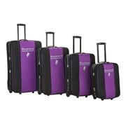 Rockland Polo Equipment 4 Piece Expandable Luggage Set; Purple