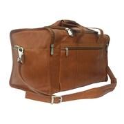 Piel Traveler 19'' Leather Weekender Duffel with Side Pockets; Saddle