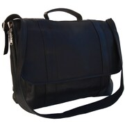 Piel Traditional Portfolio Laptop Briefcase; Black