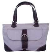 Piel Pastel Leather Tote; Pastel Purple w/ Chocolate trim
