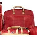 Piel Blushing Red Leather Slim Garment Bag; Red w/ Sand trim