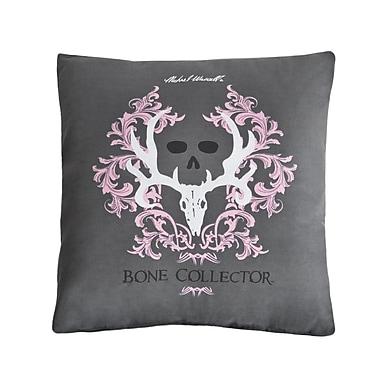 Bone Collector Throw Pillow; Grey