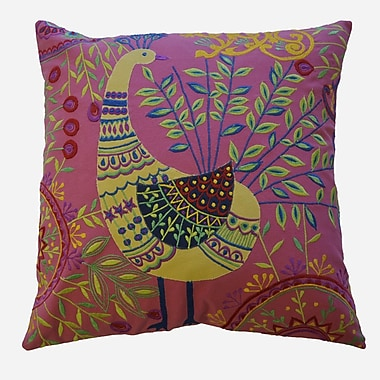 AV Home Boho Peacock Embroidered Cotton Throw Pillow; Pink