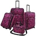 U.S. Traveler Fashion 4 Piece Spinner Luggage Set I; Pink Zebra