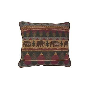 Wooded River Cabin Bear Throw Pillow