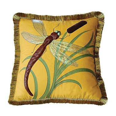 Rightside Design I Sea Life Dragonflies and Cattails Cotton Throw Pillow; Yellow