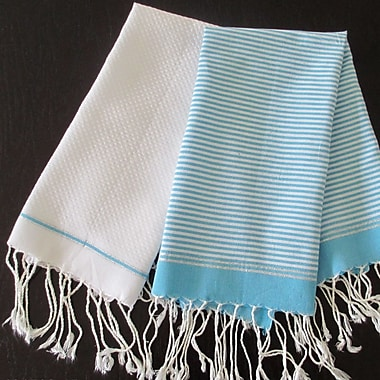 Scents and Feel Lurex Fouta Hand Towel (Set of 2); Turquoise / White