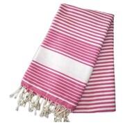 Scents and Feel Fouta Honeycomb Weave Stripe Hand Towel; Fushia / White Stripe