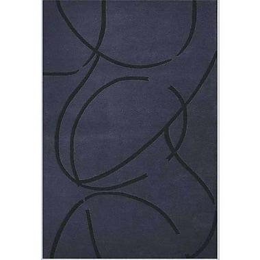Acura Rugs Contempo Dark Blue/Black Area Rug; 5' x 8'