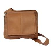 Piel Fashion Avenue Slim Line Flap-Over Ladies Cross-Body Bag; Saddle