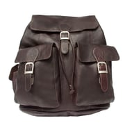 Piel Adventurer Large Buckle Flap Backpack; Chocolate