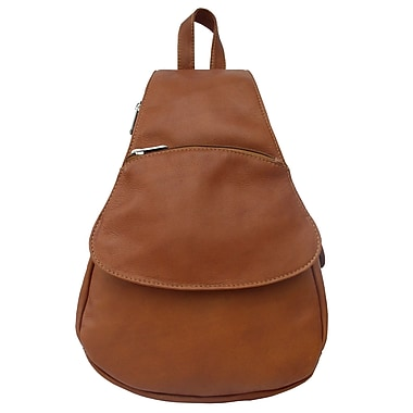 Piel Fashion Avenue Flap-Over Sling Backpack; Saddle
