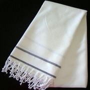 Scents and Feel Fouta Herringbone Stripe Towel; White/Black Stripe