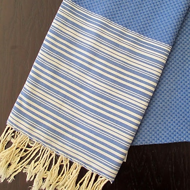Scents and Feel Honey Comb Fouta Towel; Blue Jeans / White