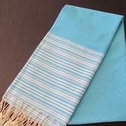 Scents and Feel Honey Comb Fouta Towel; Turquoise / White