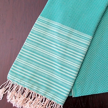 Scents and Feel Honey Comb Fouta Towel; Emerald Green / Light Green