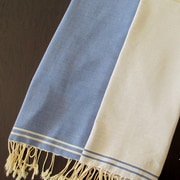 Scents and Feel Split Fouta Towel; Blue Jeans / White