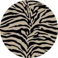 Concord Shaggy Zebra Black Shag Rug; Round 6'7''